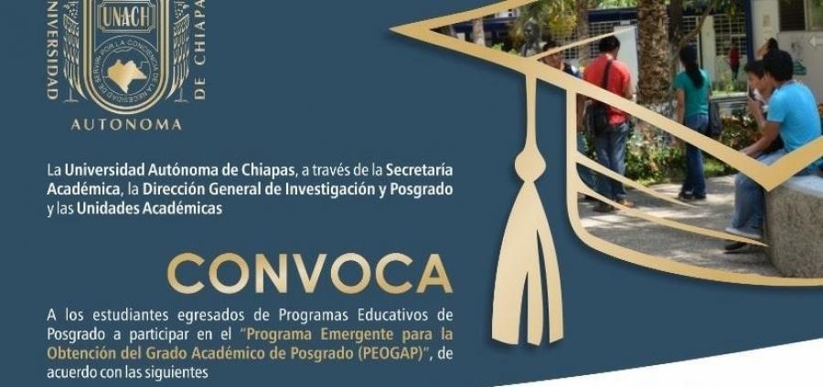 Convocatoria-Programa Emergente para la Obtención del Grado Académico de Posgrado (PEOGAP)