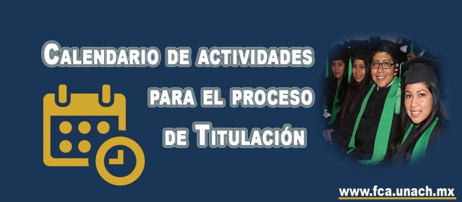 Calendario de actividades para el proceso de Titulación 2018